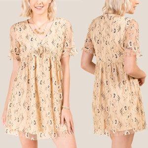 Francesca's Tan Liv Floral Lace Ruffle Shift Dress